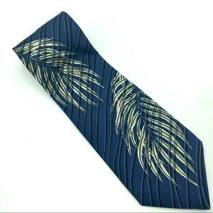 Tommy Bahama Necktie Tropical Palm Blue Tan Silk